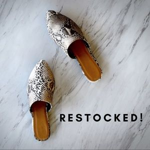 Shoes - RESTOCKED Snake Print Mule Flats